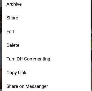 Instagram menu options
