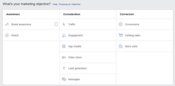 FB Ad Marketing Objectives